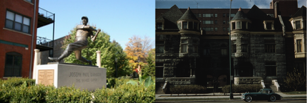 1. Joe Di Maggio sculpture on Taylor St., 2. Historic Ashland Avenue at Polk Street