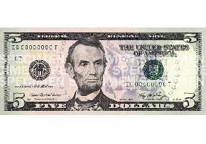 Lincoln Five Dollar Bill
